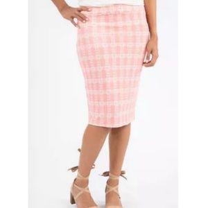 Agnes & Dora coral and white pencil skirt, NWT